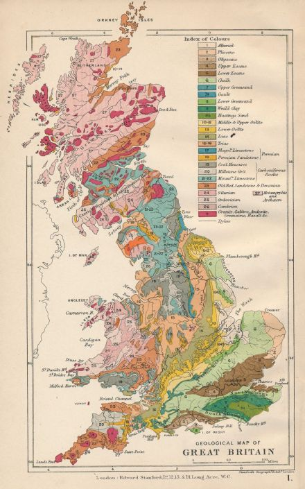 Stanford's Geological Map of Great Britain - Historical